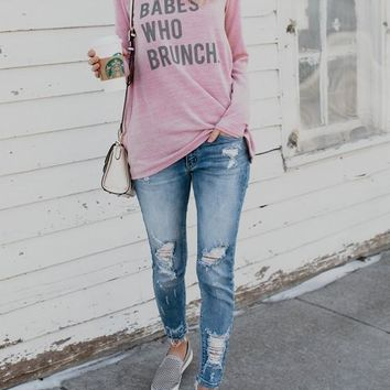 """Pink """"BEBAS WHO BRUNCH"""" Print Round Neck Going out Casual T-Shirt"""