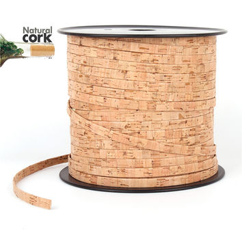 Portuguese Cork 10mm flat natural cork cord natural cork 10mm leather jewelry supplies /Findings cord for vegan Cor-108