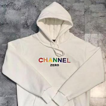CHANEL Woman Men Spoof Print Letter Hooded Top Thick Sweater Hoodie White I-MG-FSSH