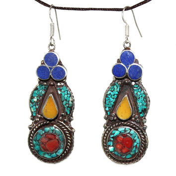 amber lapis coral Earring