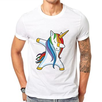 100% Cotton Funny T-shirt Unicorn Rainbow Men Short Sleeve Cute 3D Horse Print T Shirt Summer Tee Top Hip Hop White Tee