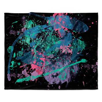 "Rosa Picnic ""Splatter-2"" Black Blue Abstract Contemporary Painting Watercolor Fleece Throw Blanket"