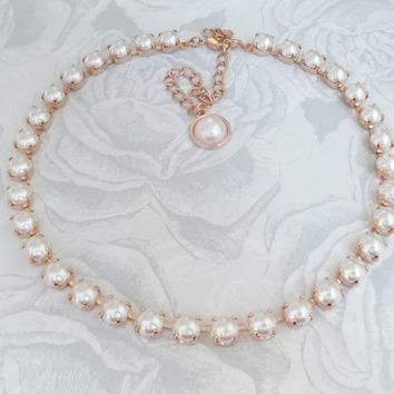 Swarovski Pearl Necklace, White Pearls, Rose Gold, Bridal, Traditional, 8MM, Choker, DKSJewelrydesigns, FREE SHIPPING