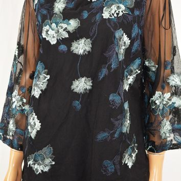 Charter Club Women Metallic Black Floral Embroidered Mesh Blouse Top L