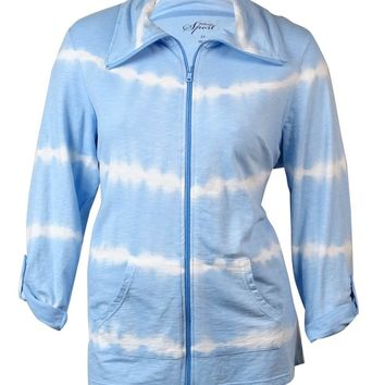 Style & Co. Women's Roll-Tab Sleeve Tie-Dye Zip-Up Jacket