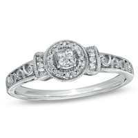 1/7 CT. T.W. Princess-Cut Quad Diamond Promise Ring in Sterling Silver - Size 7