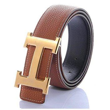 H Belts for Men Business Casual Leather Belt 1.5inch Wide (Waist Size 28-34 inch, Brown Gold)