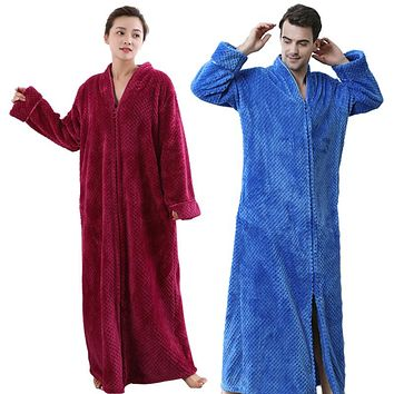 Men Women Plus Size Extra Long Warm Coral Fleece Bathrobe Winter Thick Flannel Thermal Bath Robe Male Dressing Gown Mens Robes