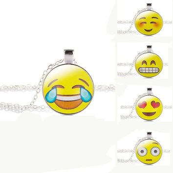 2017 New Design 13 Style Silver Plated with Glass Cabochon Cute Emoji Pattern Choker Long Pendant Necklace for Women Gift