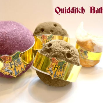 Quidditch Inspired Bath Bomb Bath Melt Set ---Quaffle Bludgers Golden Snitch Harry Potter