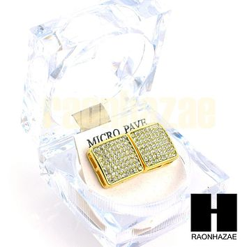 New Hip Hop Gold Tone Micro Pave Iced Out Jumbo 15mm Bling Square Earring G134