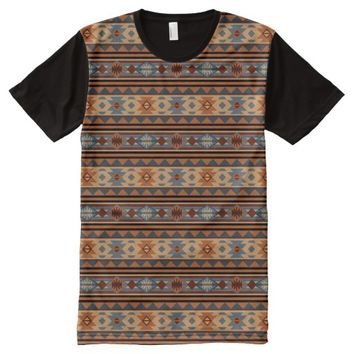 Southwest Design Gray Brown All-Over Print T-shirt