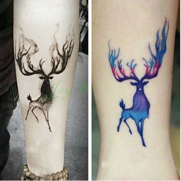 Waterproof Temporary Tattoo Sticker 10.5*6 cm moose deer bucks tattoo elk Water Transfer Fake Tattoo Flash tattoos for men girl
