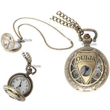 Licensed cool OUIJA BOARD MYSTIFYING ORACLE Cut out design POCKET WATCH NECKLACE Lovesick NEW