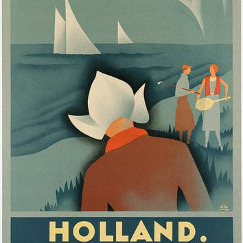 "c.1930s "" Visit Holland, Seaside Dutch Girl Folk"" Travel Poster-Antique-Old-Vintage Reproduction Photograph/Photo: Gicclee Print. Frame it!"