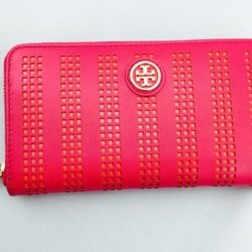 Tory Burch Hot Pink Perforated Leather Continental Wallet