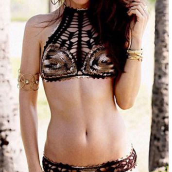 HOT WILD HIGH NECK LEOPARD TWO PIECE WOVEN BIKINIS