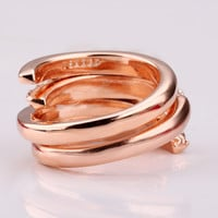 Curved Pave Diamond 18K Rose Gold Plated Ring