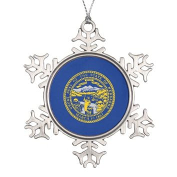 Snowflake Ornament with Nebraska Flag