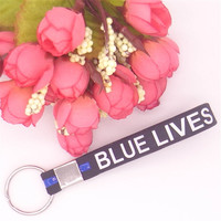 Keyring Blue Black Police Lives Matter Simple Keychain Wristband Silicone Bracelets Free Shipping