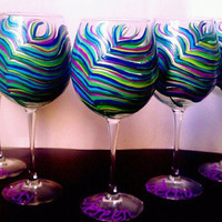 Peacock wine glasses set of 5 Peacock Wedding by Jdboutique