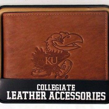 Kansas KU Jayhawks Embossed Leather Billfold Wallet NEW in Gift Tin