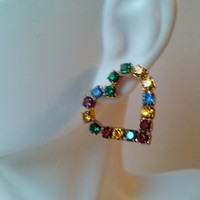 Glistening Rainbow Hearts of Multi Colored Rhinestones Vintage Pierced Earrings MINT Condition Estate Jewelry