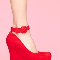 Roxy Platform Wedge - Red in  Shoes at Nasty Gal
