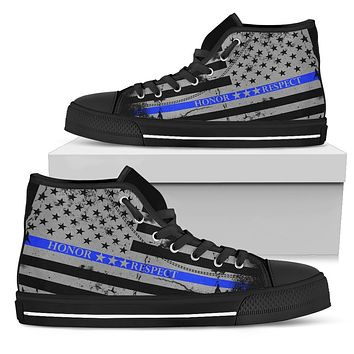 Honor Respect Thin Blue Line Men's Shoes - Men's High Top