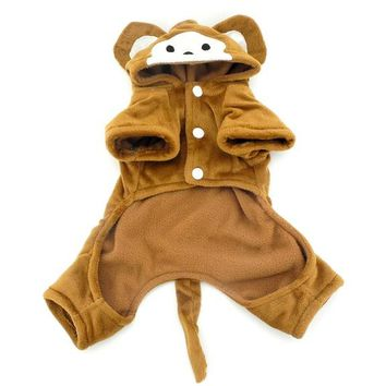 Halloween Brown Clothing Dog Costume with Hood Jacket