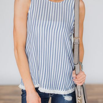 It Gets Sweeter Baby Blue Striped Tank Top