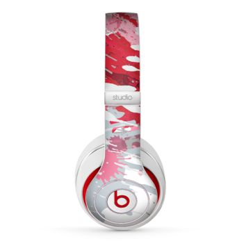The Abstract Red, Pink and White Paint Splatter Skin for the Beats by Dre Studio (2013+ Version) Headphones