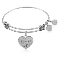 Expandable Bangle in White Tone Brass with Sweet 16 Symbol