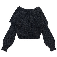 Black Lapel Lace Up Front Crop Knit Jumper