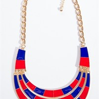 Combo Color Block Three Tier Necklace Set - Red and Blue from Glam at Lucky 21