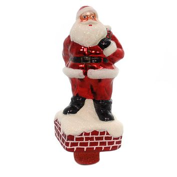 Tree Topper Finial SANTA TREE TOPPER. Glass Chimney Presents Delivery 71669.