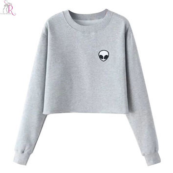 2 Colors Black Grey Alien Crop Top Sweatshirt Hoodies Long Sleeve Loose Casual Streetwear Round Neck 2016 Women Autumn