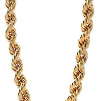 King Ice 16mm Run DMC Yellow Gold Rope Dookie Chain
