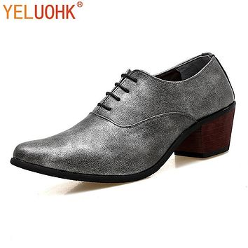 Vintage Men Shoes Dress Pointed Toe Oxfords Shoes For Men Lace UP Men Dress Shoes Office
