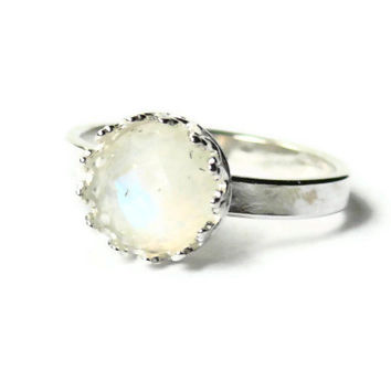 Moonstone engagement ring promise ring faceted rainbow moonstone ring alternative engagement ring sterling silver ring