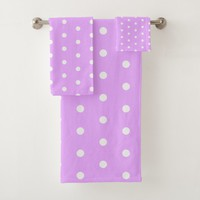 White and pink polka dot, retro geometric pattern bath towel set