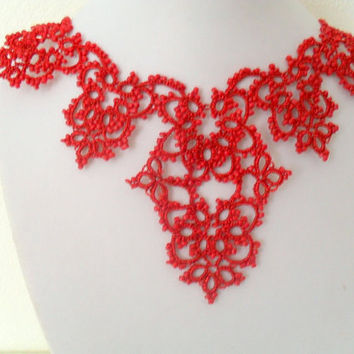 Red tatted necklace ,Choker Necklace Lace Red Victorian Bohemian Gothic - Frivolite Bijoux