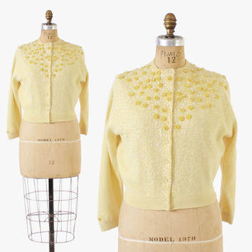 Vintage 60s BEADED CARDIGAN / 1960s YELLOW 3-D Sequin Flower Lambswool Cardi Sweater