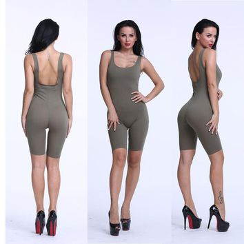 Sexy Women Rompers Skinny Backless Overalls Summer 2017 Cotton Bodycon Jumpsuit Dungarees Woman Playsuit  Solid Bodysuit