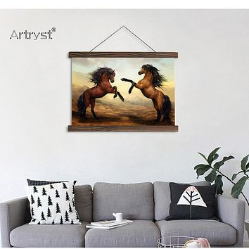 Real Image Horses Dance Scroll Canvas Painting