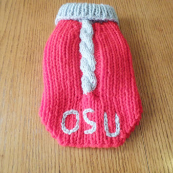 Hand Knitted Dog Sweater - OSU Buckeye Knit Dog Sweater - Extra Small, Small, Medium, Large, Extra Large Dog Clothes - Red Sweater for Dog