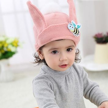 lovely bee with ears white fur ball kids hat acrylic warm knitted cap girls boys outdoor beanies skullies winter 1 to 5 years