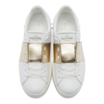 White & Gold Open Low-Top Sneakers
