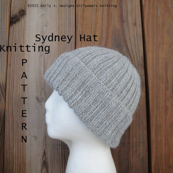 Sydney Hat Knitting Pattern, Easy Knit, Watch Cap Beanie Toque Toboggan Stocking, Worsted Weight