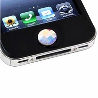 eForCity Home Button Sticker compatible with Apple® iPhone® / iPad® / iPod® touch, Colorful Diamond